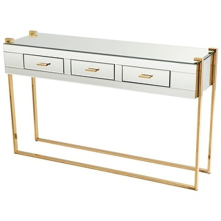 "Cyan Design 08728  St Clair 53"" Long Glass Top Iron and Wood Console Table - Aged Brass"