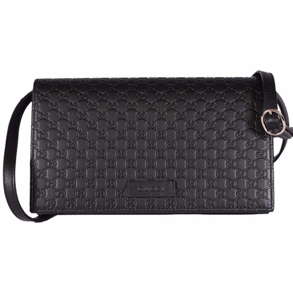 b39262a826a67a Gucci 466507 Black Leather Micro GG Guccissima Crossbody Wallet Bag Purse -  8