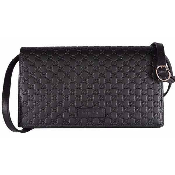 dfa4240e8b84 ... Designer Store; /; Designer Handbags. Gucci 466507 Black Leather Micro  GG Guccissima Crossbody Wallet Bag Purse - 8