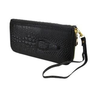 Mock Crocodile Zip Around Wallet/Wristlet