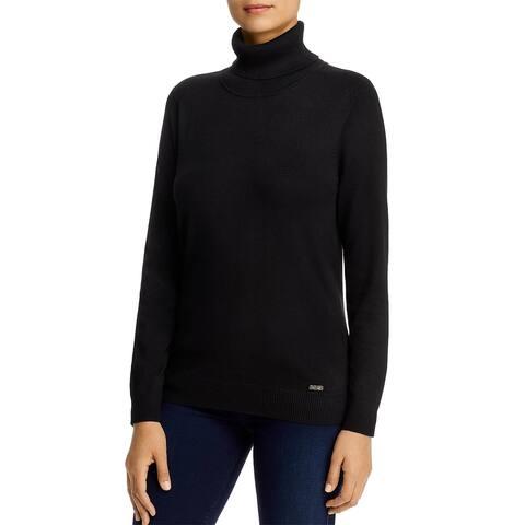 Calvin Klein Womens Turtleneck Sweater Ribbed Trim Pullover