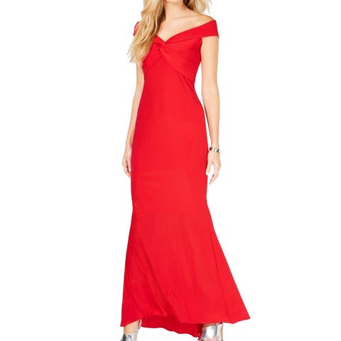 Xscape Women's Dress Red Size 12 Off-Shoulder Twist Front Gown