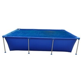 12.8' Blue Rectangular Floating Solar Cover for Steel Frame Swimming Pool