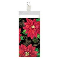 """Club Pack of 12 Red and Green Christmas Themed Posh Poinsettia Tablecover 16.25"""""""