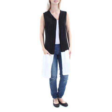 VINCE CAMUTO $99 Womens New 1074 Black White Long Open Cardigan Sweater XS B+B