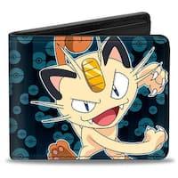 Meowth Clawing Pose1 Pok Balls Blues Bi Fold Wallet - One Size Fits most