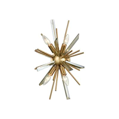 Avenue Lighting Palisades Ave. Collection antique brass steel and glass wall sconce. - 9
