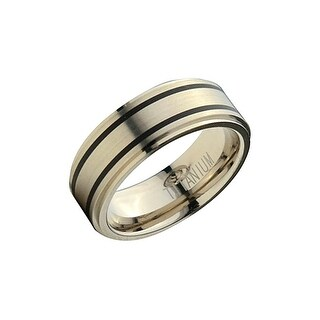 INOX Jewelry Men's Titanium Band with 2 Inlaid Rubber Details Ring