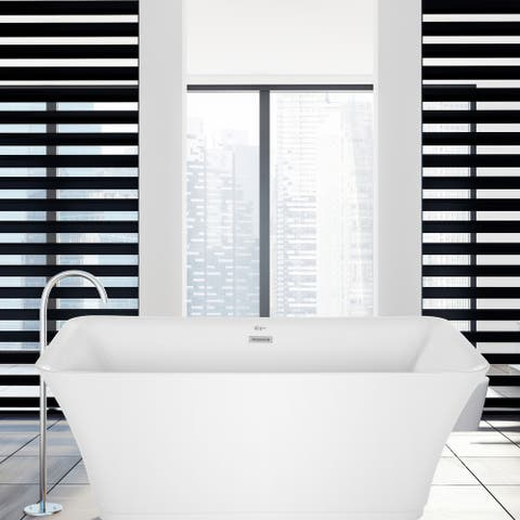 """59"""" x 30"""" Freestanding Rectangular Soaking Acrylic Bathtub in White with Polished Chrome Overflow and Drain"""
