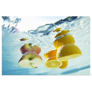 """""""Fruit floating in swimming pool"""" Poster Print"""