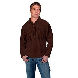 Scully Western Shirt Mens Trapper Long Sleeve Fringe Chocolate