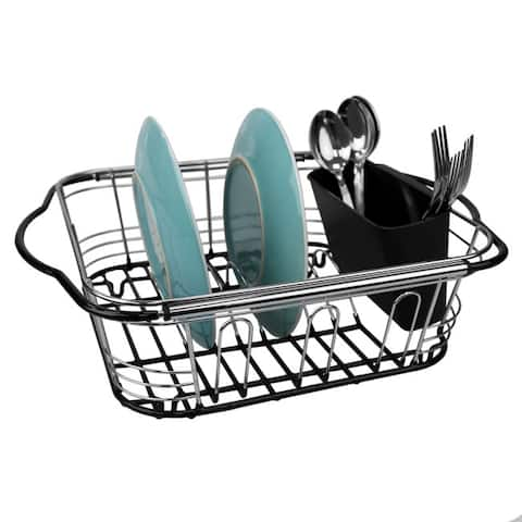 Expandable Over the Sink Wire Dish Rack with Handles, Chrome
