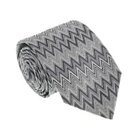 Missoni U4914 Silver/Gray Chevron 100% Silk Tie - 60-3