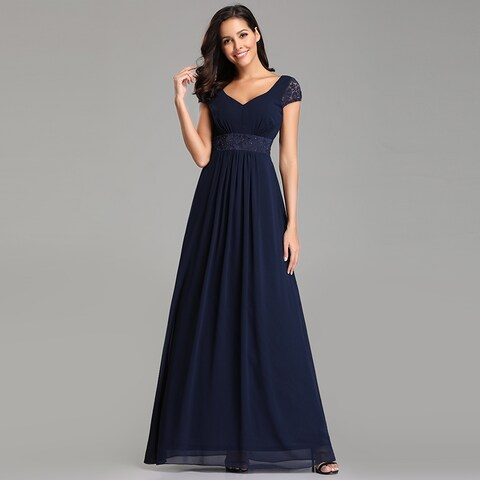 Ever-Pretty Womens Lace Chiffon Navy Blue Long Evening Party Prom Bridesmaid Maxi Dress 07673