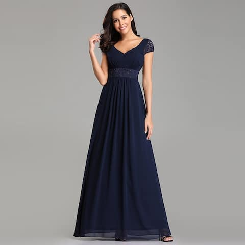 a4feb39a475 Ever-Pretty Womens Lace Chiffon Navy Blue Long Evening Party Prom Bridesmaid  Maxi Dress 07673