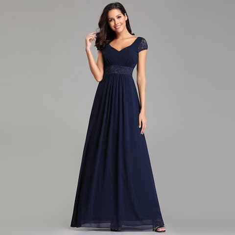 ce1fe32355a Ever-Pretty Womens Lace Chiffon Navy Blue Long Evening Party Prom  Bridesmaid Maxi Dress 07673