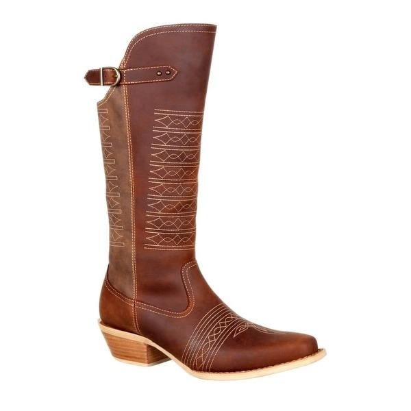 Durango Western Boots Womens Crush Zipper Brown Vintage