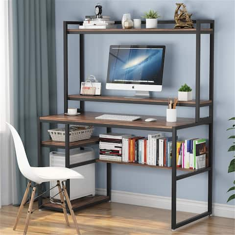 47 Inch Computer Desk with Hutch and Shelves - Dark-walnut