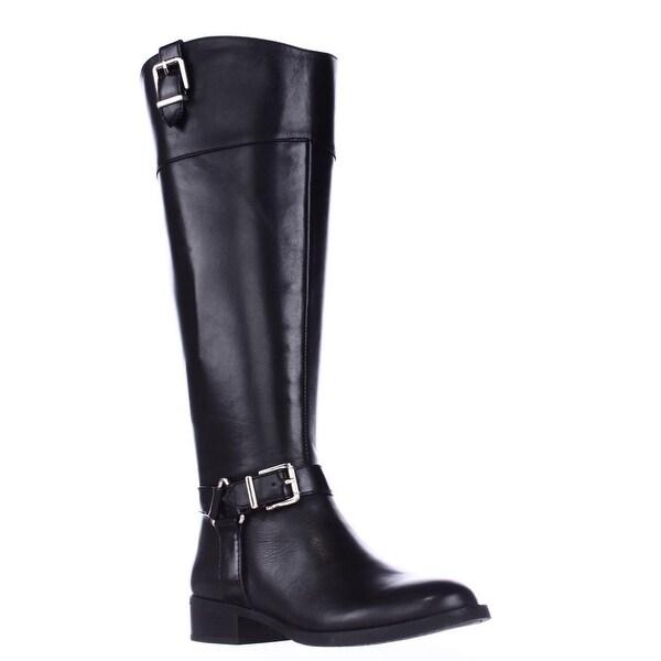 I35 Fedee Harness Strap Wide Calf Riding Boots, Black