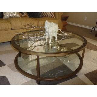 Shop Clay Alder Home Blair Pewter SteelGlass Round Coffee Table - Pewter glass coffee table