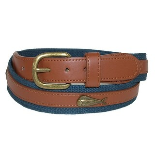 CTM® Men's Fabric Belt with Ribbon Overlay and Fish Conchos