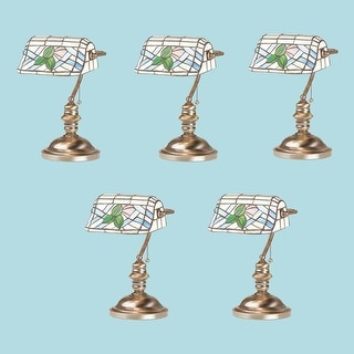 5 Banker's Lamps Stained Glass Antique Brass Set of 5