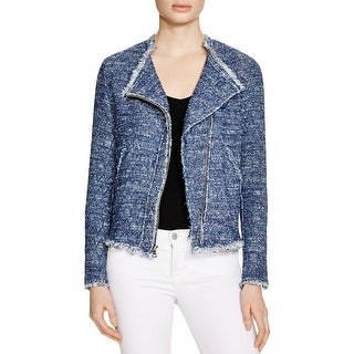 Generation Love Womens Collarless Blazer Marled Fringe
