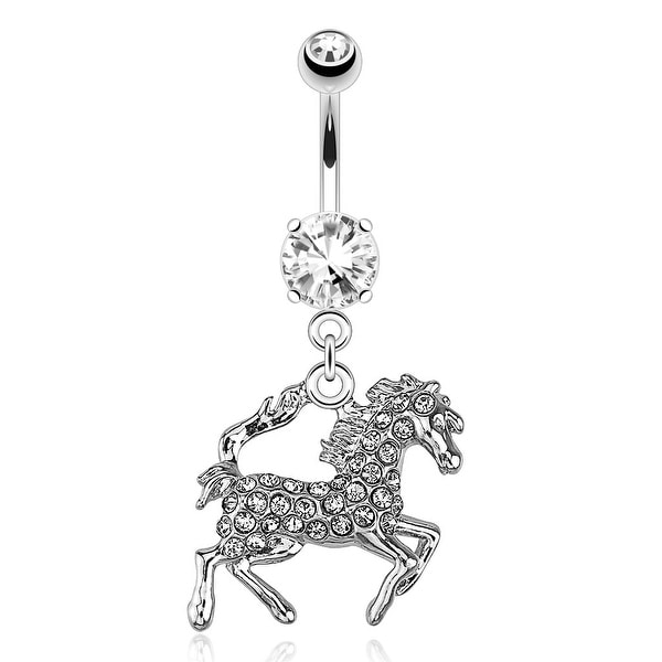 Horse with Peach Tone Paved Gems Dangle 316L Surgical Steel Navel Belly Button Ring