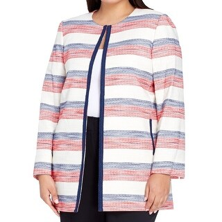 Tahari by ASL White Blue Red Womens Size 16W Plus Striped Jacket