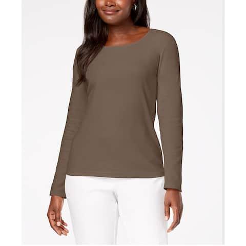 Karen Scott Women's Cotton Scoop-Neck Top Chestnut Size Medium - Brown