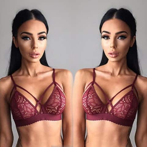 Floral Sheer Lace Triangle Bralette Bra Crop Top Bustier