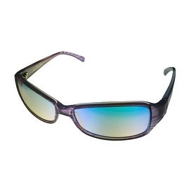 Angel Womens Sunglass Livvy Purple Stripe Plastic Wrap, Poly Carb Blue Flash Lens - Medium