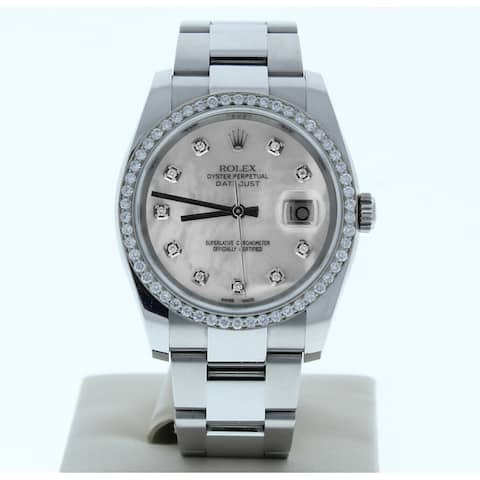 Preowned 116200 Rolex Datejust Custom Mother of Pearl Diamond Dial Diamond Bezel - Custom Mother of Pearl Diamond Dial