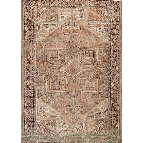 """Vintage Geometric Heriz Persian Traditional Wool Area Rug Hand-knotted - 10'6"""" x 12'7"""""""