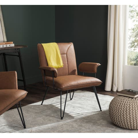 """SAFAVIEH Johannes Mid-Century Modern Camel Arm Chair - 29.1"""" x 28.2"""" x 32.7"""""""