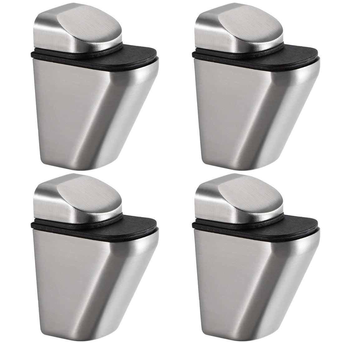 F Shape Adjustable Zinc Alloy Glass Shelf Clamp Bracket Brush Brass Tone 4 Pcs