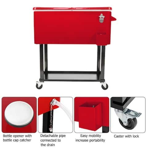 Ice Chest Cooler Cart Red