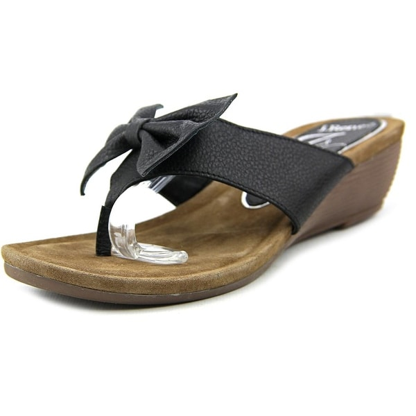 J. Renee Ayala Women Open Toe Leather Black Wedge Sandal