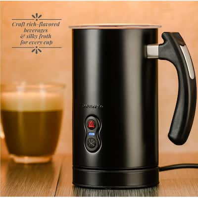 Ovente Electric Frother with 4 Ounce Frothing and 8 Ounce Heating Capacity Stainless Steel Double Wall Insulated Milk Steamer