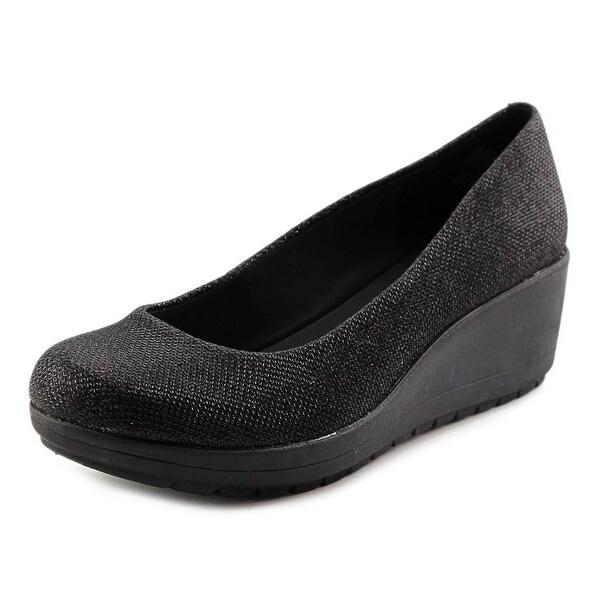 Easy Spirit e360 Clarita Women W Open Toe Canvas Black Wedge Heel