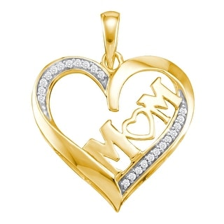 """Mom"" Heart Pendant 10K Yellow-gold With Diamonds 0.08 Ctw By MidwestJewellery - N/A"