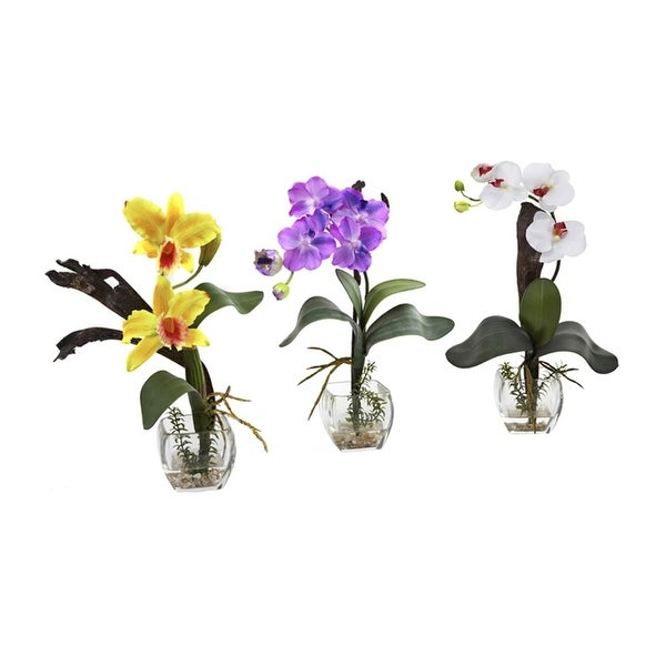 Nearly Natural Mixed Orchid with Cube Arrangements - Set of 3 - ortment2