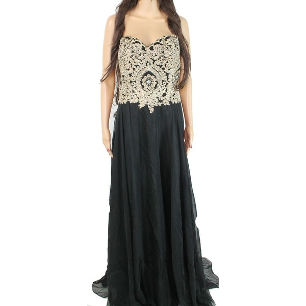 Dress Black Size 20 Plus Strapless Gown