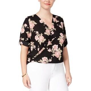 BCX Womens Plus Blouse Faux-Wrap Floral - 1X