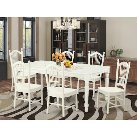 Dining room sets for 6 - Wooden Dinette Table and 6 Wooden Seat Chairs (Finish Option Available)