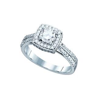 1 Ct Diamond 5/8Ct Center Round Bridal Engagement Ring 14K White-Gold