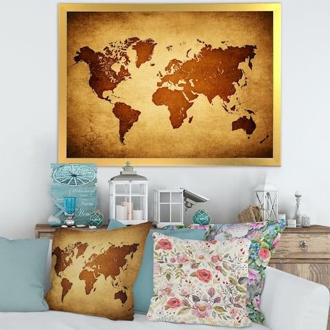 Designart 'Ancient Map of The World VI' Vintage Framed Art Print