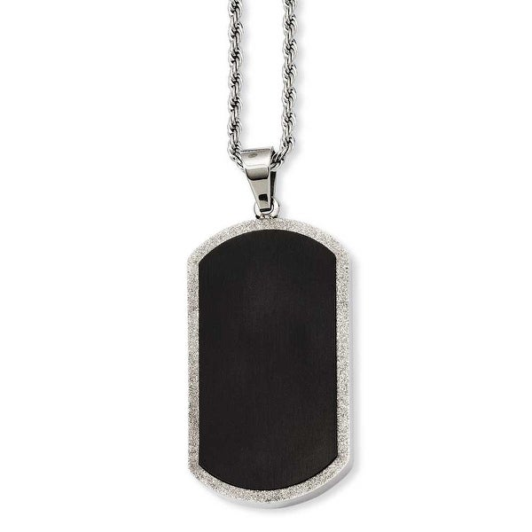 Stainless Steel Black-plated Laser Cut Dogtag Pendant 24in Necklace (3 mm) - 24 in
