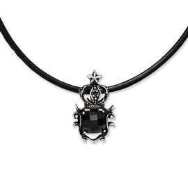Chisel Stainless Steel Antiqued Crown with Black Glass Necklace (3 mm) - 20 in