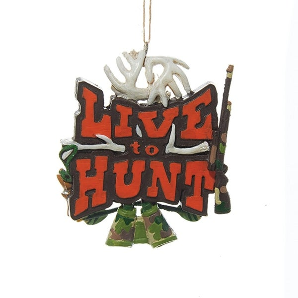 "3.5"" ""Live to Hunt"" Sign with Rifle Antlers and Binoculars Hanging Christmas Ornament"